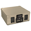 Fire and Waterproof Chest, 0.27 cu. ft., 15 9/10w x 12 2/5d x 6 1/2h, Taupe