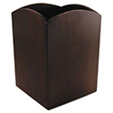 Bamboo Curved Pencil Cup, 3 x 3  4 1/4, Espresso Brown