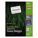 EcoFriendly Adhesive Name Badge Labels, 2 1/3 x 3 3/8, White, 80/Pack