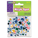 Wiggle Eyes Assortment, Assorted Sizes, Assorted Colors, 100/Pack
