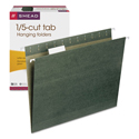 Hanging Folders, 1/5 Tab, 11 Point Stock, Letter, Green, 25/box