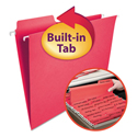 Fastab Hanging File Folders, Letter, Red, 20/box