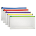 Poly Zip Envelope, Zipper Closure, Assorted, 5/Pack