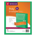 Poly String & Button Booklet Envelope, 9 3/4 X 11 5/8 X 1 1/4, Green, 5/pack