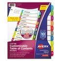 Customizable TOC Ready Index Multicolor Dividers, 1-10, Letter