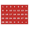"Interchangeable Magnetic Board Accessories, Calendar Dates, Red/White, 1"" x 1"""