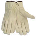 Economy Leather Driver Gloves, Large, Beige, Pair