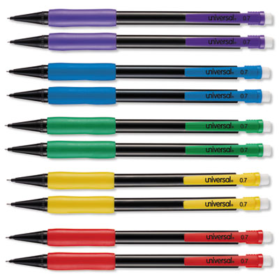 Soft Grip Mechanical Pencil, .7 mm, Assorted Barrel, 10/Pack