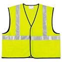 Class 2 Safety Vest, Fluorescent Lime w/Silver Stripe, Polyester, Large