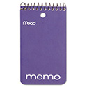 Wirebound Memo Book, Medium/College Rule, 3 x 5, White, 60 Sheets
