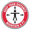 "Slip-Gard Social Distance Floor Signs, 17"" Circle, ""Keep Your Distance Maintain 6 ft"", Human/Arrows, Red/White, 25/Pack"