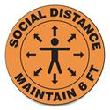 "Slip-Gard Social Distance Floor Signs, 12"" Circle, ""Social Distance Maintain 6 ft"", Human/Arrows, Orange, 25/Pack"