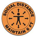 "Slip-Gard Social Distance Floor Signs, 17"" Circle, ""Social Distance Maintain 6 ft"", Human/Arrows, Orange, 25/Pack"
