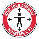 "Slip-Gard Social Distance Floor Signs, 12"" Circle, ""Keep Your Distance Maintain 6 ft"", Human/Arrows, Red/White, 25/Pack"