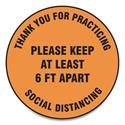 "Slip-Gard Floor Signs, 12"" Circle,""Thank You For Practicing Social Distancing Please Keep At Least 6 ft Apart"", Orange, 25/PK"