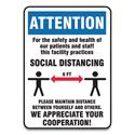 Social Distance Signs, Wall, 7 x 10, Patients and Staff Social Distancing, Humans/Arrows, Blue/White, 10/Pack
