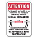 Social Distance Signs, Wall, 10 x 14, Customers and Employees Distancing, Humans/Arrows, Red/White, 10/Pack