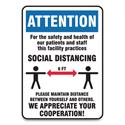 Social Distance Signs, Wall, 10 x 14, Patients and Staff Social Distancing, Humans/Arrows, Blue/White, 10/Pack