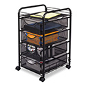 Onyx Mesh Mobile File With Four Supply Drawers, 15-3/4w X 17d X 27h, Black