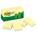 Recycled Note Pads, 1 1/2 x 2, Canary Yellow, 100-Sheet, 12/Pack