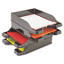 Docutray Multi-Directional Stacking Tray, 2-Tray Set, 10 x 2 1/2 x 13 3/4, Black