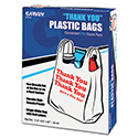 "Plastic ""Thank You"" Shopping Bags, 11 x 6 x 22, 0.55 mil, White/Red, 250/Box"