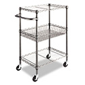 Three-Tier Wire Cart with Basket, 28w x 16d x 39h, Black Anthracite