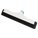 Sanitary Standard Floor Squeegee, 18 Inch Blade, White Plastic/Black Rubber