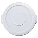"Flat Top Lid for 10-Gallon Round Brute Containers, 16"" dia., White"