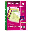 Small Binder Pockets, Standard, 7-Hole Punched, Assorted, 5 1/2 x 9 1/4, 5/Pack