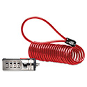 Portable Combination Laptop Lock, 6ft Steel Cable, Red