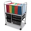 Letter/Legal File Cart w/Five Storage Drawers, 21-5/8 x 15-1/4 x 28-5/8, Black