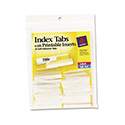 Insertable Index Tabs with Printable Inserts, 1 1/2, Clear Tab, White 25/Pack