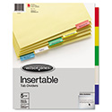 Single-Sided Reinforced Insertable Index, Multicolor 5-Tab, Letter, Buff