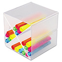 "Desk Cube With ""x"" Dividers, Clear Plastic, 6 X 7-1/5 X 6"