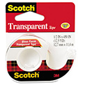 "Transparent Tape In Hand Dispenser, 1/2"" X 450"", 1"" Core, Clear"
