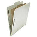 Pressboard Classification Folder, Letter, Four-Section, Gray, 10/Box
