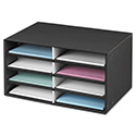 Decorative Sorter, 8 Letter Sections, 19 1/2 X 12 3/8 X 10 1/4, Bk/gy Pinstripe