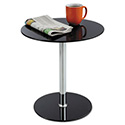"Glass Accent Table, Tempered Glass/Steel, 17"" Dia. x 19"" High, Black/Silver"