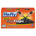 Easy Flaps Trash Bags, .85 mil, 30gal, Black, 40/Box