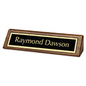 Excutive Desk/Counter Sign, Wood w/Gilded Engraving, 2 x 8, Black/Gold
