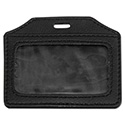 Leather-Look Badge Holder, 3 1/2 x 2 1/2, Horizontal, Black, 5/Pack