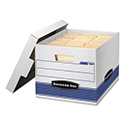 STOR/FILE Med-Duty Letter/Legal Storage Boxes, Locking Lid, White/Blue, 4/Carton