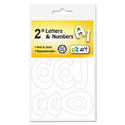 "Self-Adhesive Caps and Numbers, Hobo, White, 2"", 79/Pack"