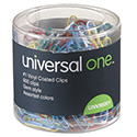Vinyl-Coated Wire Paper Clips, No. 1, Assorted Colors, 500/Pack