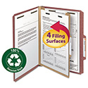 "Pressboard Classification Folder, 1 Divider, 2"" Exp., 2/5 Cut, Ltr, Red, 10/Box"
