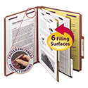 Pressboard Classification Folders, Self Tab, Letter, Six-Section, Red, 10/Box