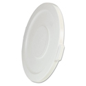 "Round Flat Top Lid, for 32-Gallon Round Brute Containers, 22 1/4"", dia., White"