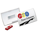 Click-Fold Convex Name Badge Holder, Double Magnets, 3 3/4 X 2 1/4, Clear, 10/pk