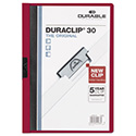 Vinyl DuraClip Report Cover w/Clip, Letter, Holds 30 Pages, Clear/Maroon